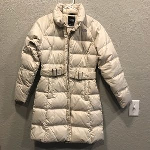 North Face Cream Down Filled Long Puffer Jacket